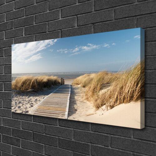 Leinwand-Bilder 100x50 Wandbild Canvas Kunstdruck Strand Weg Landschaft