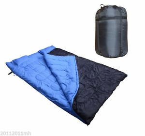 2-Person-Double-Sleeping-Bag-Outdoor-Camping-Hiking-Backpack-with-2-Pillows-Blue