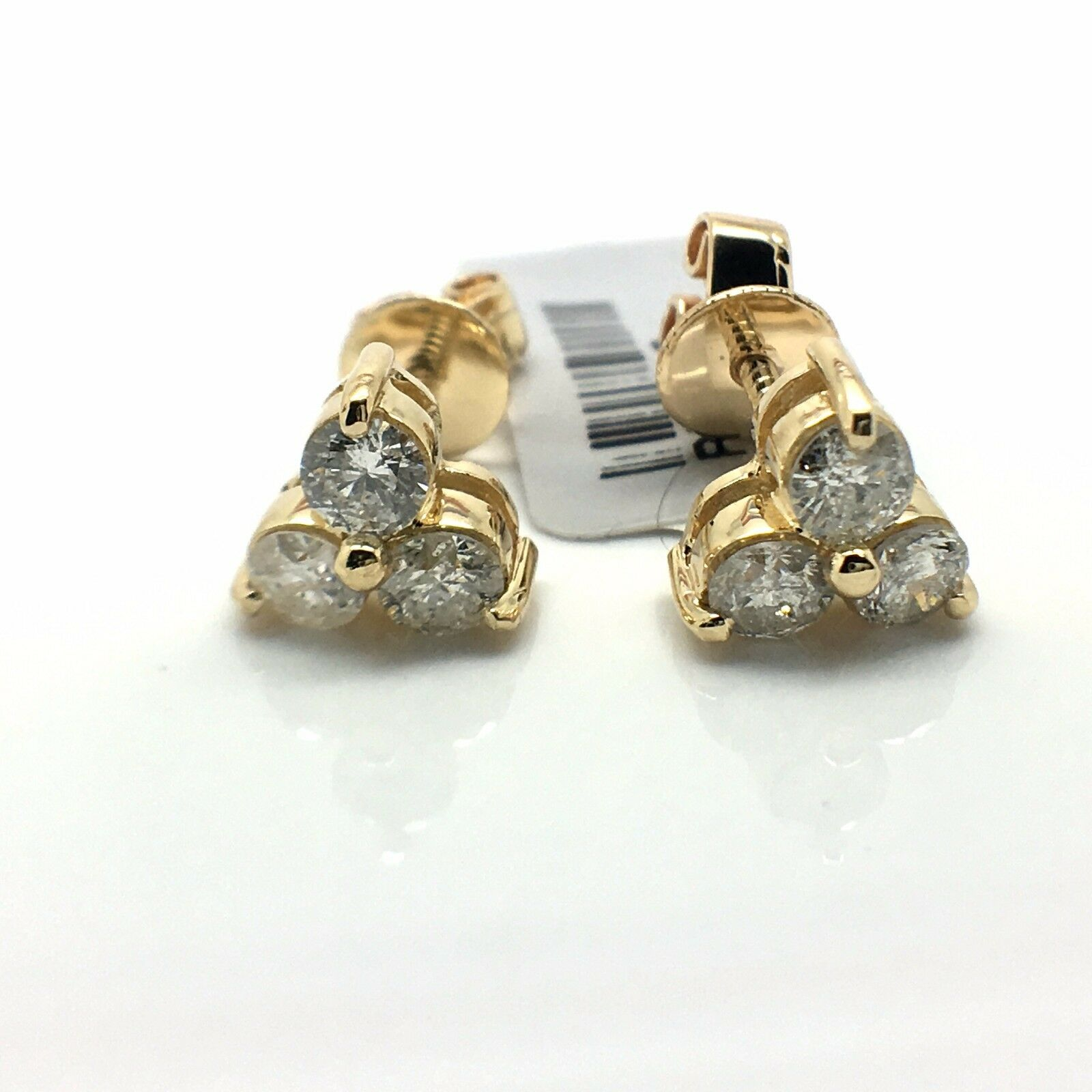 18k Yellow gold Natural Diamond Stud Earrings
