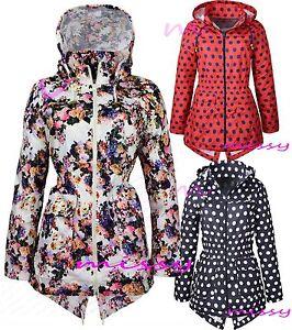 NEUF-filles-veste-de-pluie-Mac-Cagoule-floral-douche-resistant-age-7-13-yearsf