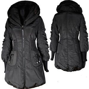 damen ballon winter jacke parka mantel 44 l schwarz warm anorak winterjacke coat ebay. Black Bedroom Furniture Sets. Home Design Ideas