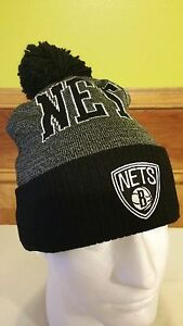 2b1f9659582 Brooklyn Nets Cuff Pom Knit Beanie Mitchell   Ness NBA Winter Cap ...