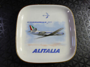 1960s-1970s-ALITALIA-Airline-ASHTRAY-Porcelain-Richard-Ginori-Ash-Tray-Aeroplane