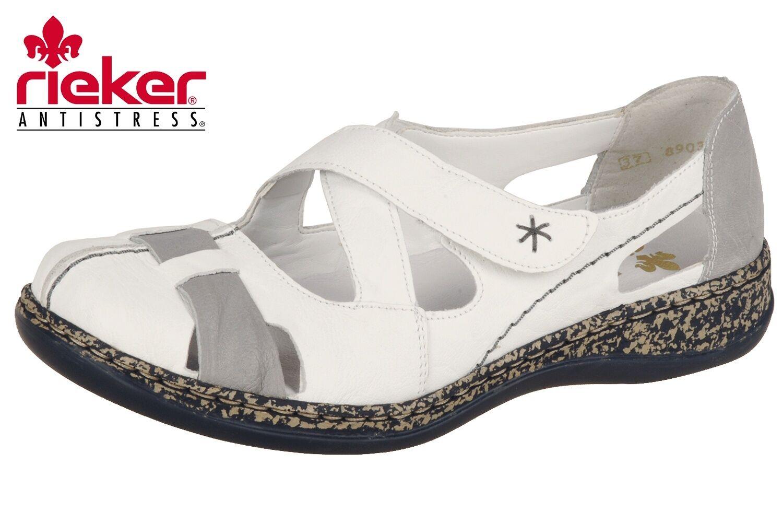 Rieker Damen Sandale Weiß Sommer Slipper Leder 46367-80 NEU ROTuziert