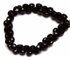"Natural Black Onyx Gem Super Quality Facet Onion Briolette Beads 8"" Strand"