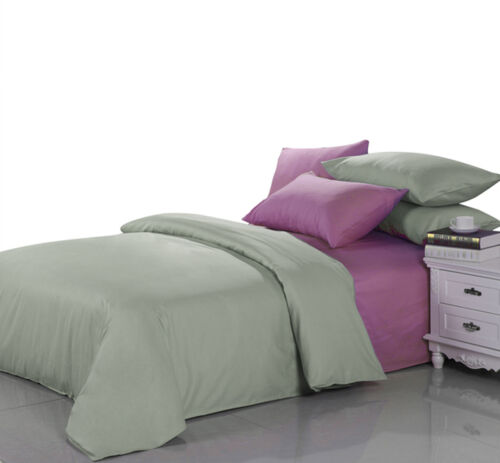 Solid Plain Duvet Cover With Pillow Case Bedding Set For Single Double King Size