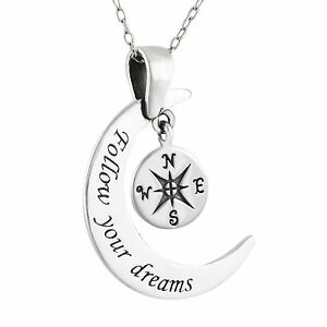 follow your dreams moon pass necklace 925 sterling silver Windows 7 Logo image is loading follow your dreams moon pass necklace 925 sterling