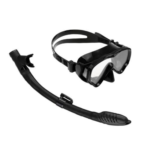 Kids Silicone Mask /& Snorkel Set Divers Diving Goggles Scuba Dive Gear Black