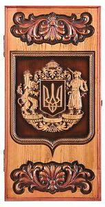 Details about HAND CARVED WOODEN BACKGAMMON BOARD GAME SET WITH UKRAINIAN  COAT OF ARMS ASHTREE