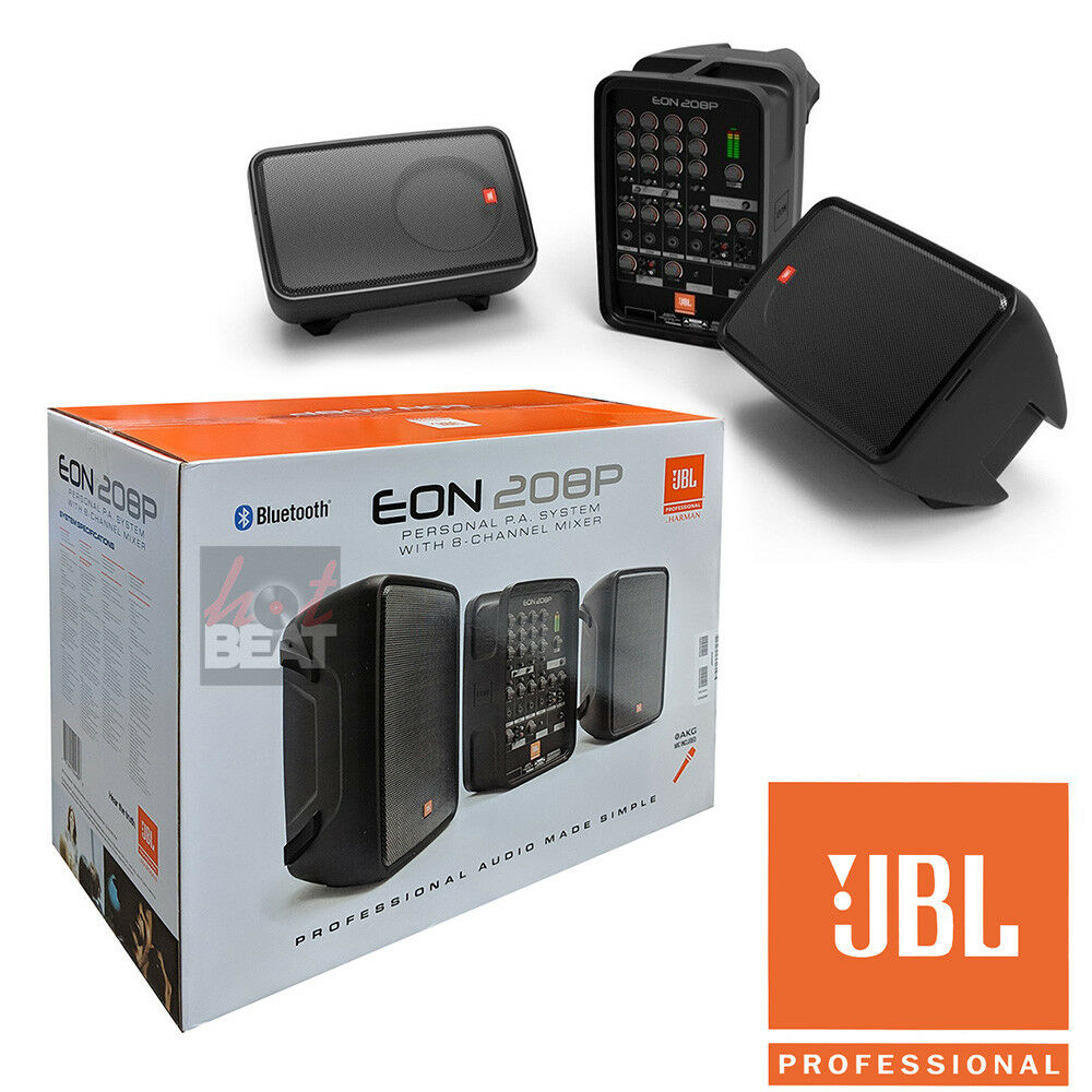 JBL EON208P Portable PA System Pair 8  Powerot Speakers 8 Ch Mixer w  Blautooth