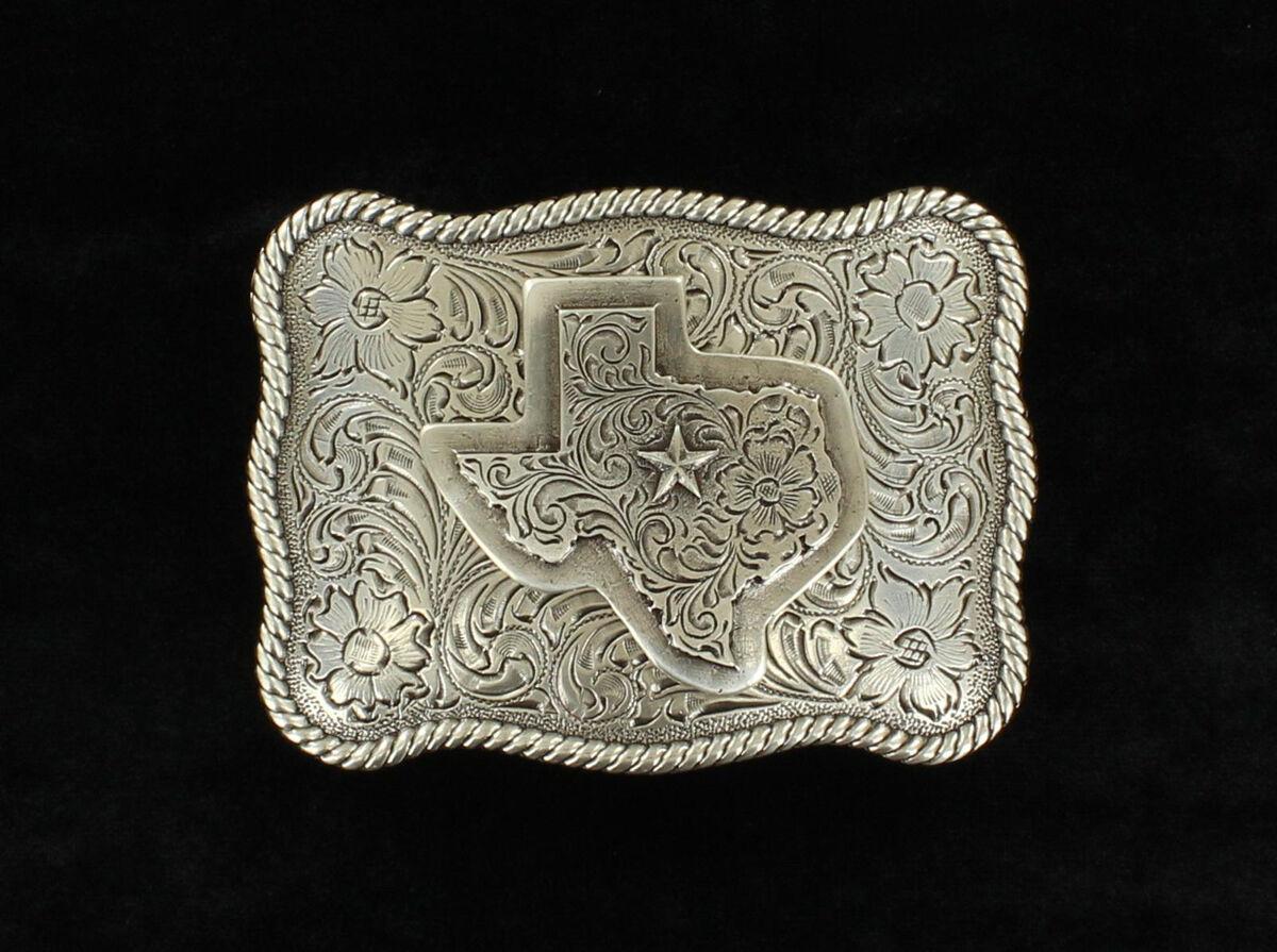 3-D Texas W / Star ~ Silber Western Gürtelschnalle ~ Quadratisch - Herz Von
