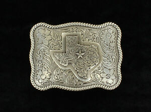 3-D-TEXAS-w-STAR-Silver-Western-Belt-Buckle-Square-Heart-of-Texas-37528
