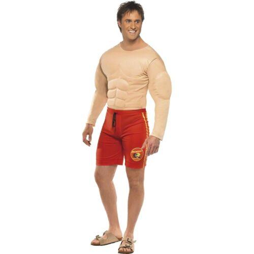 Baywatch Beach Lifeguard Muscle Chest Novelty Adults Mens Fancy Dress Costume
