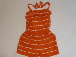 GYMBOREE Tropical Bloom Orange/White Dip Tie Dye 1pc Romper Size 5T NEW TL2