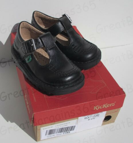 Kickers KICK T I CORE Infant Girls Leather School Shoes Black T-Bar Buckle UK 5