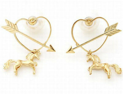 Europe Chic Arrow in Hollow Heart Horse Pearl Lady Stud Earrings Jewelry 2 Color