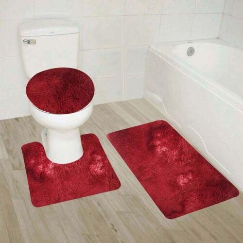 Bathroom Set Mat Rug Lid Cover Fluffy Long Hair Faux Fur Shag 3pc #9 BURGUNDY