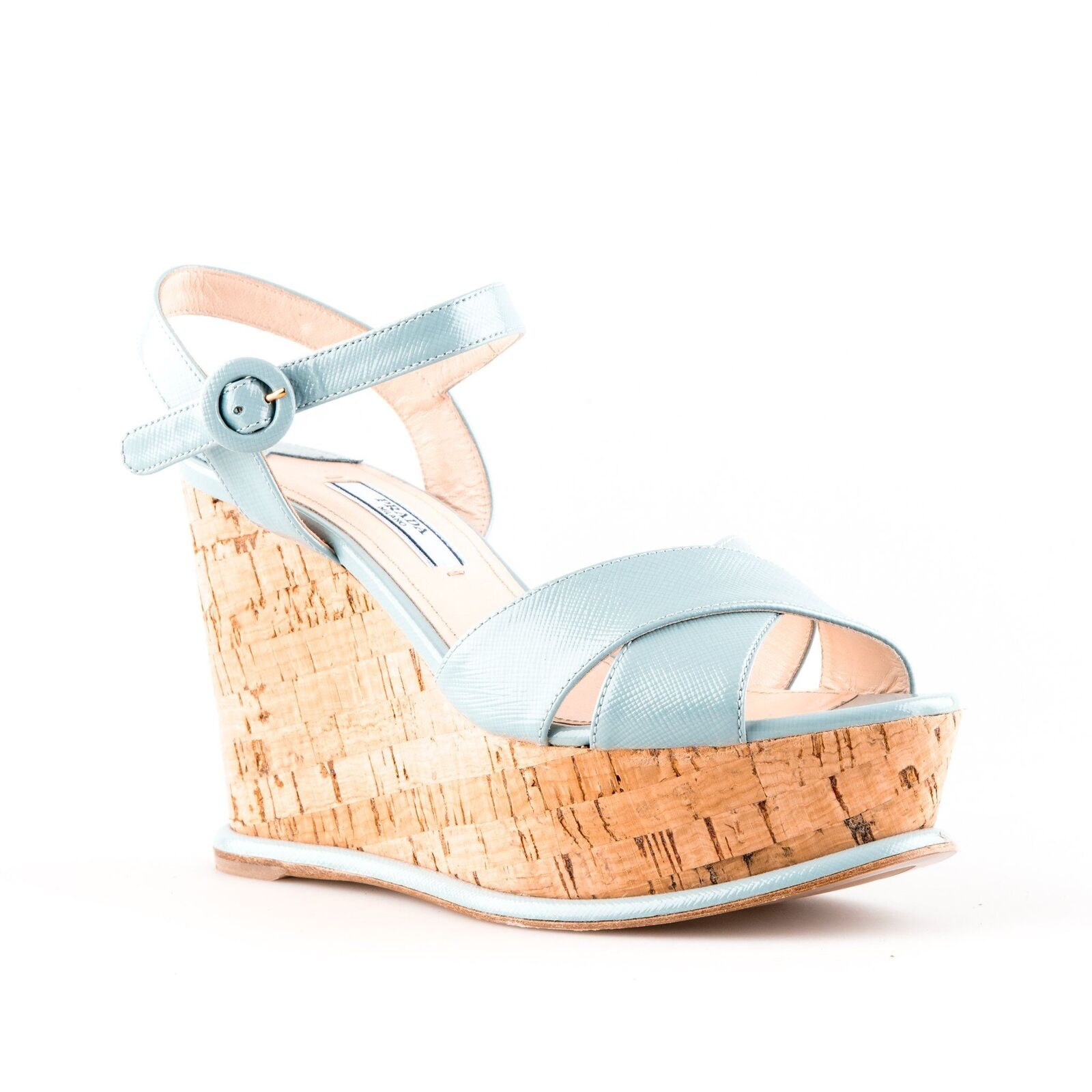 Prada Light bluee Leather Strappy Cork Platform Platform Platform Wedge Sandals - Size 36.5 922835