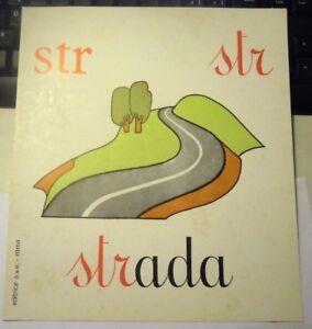 "CARTELLO / ALFABETIERE PER SCUOLA ELEMENTARE - VINTAGE "" STR - STRADA "" (LA-3)"