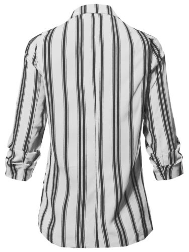 FashionOutfit Women/'s Outer Pinstripe 3//4 Sleeves Notched Collar Blazer Jacket
