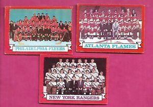 1973-74-OPC-FLYERS-RANGERS-FLAMES-TEAM-PHOTO-CARD-INV-J0177