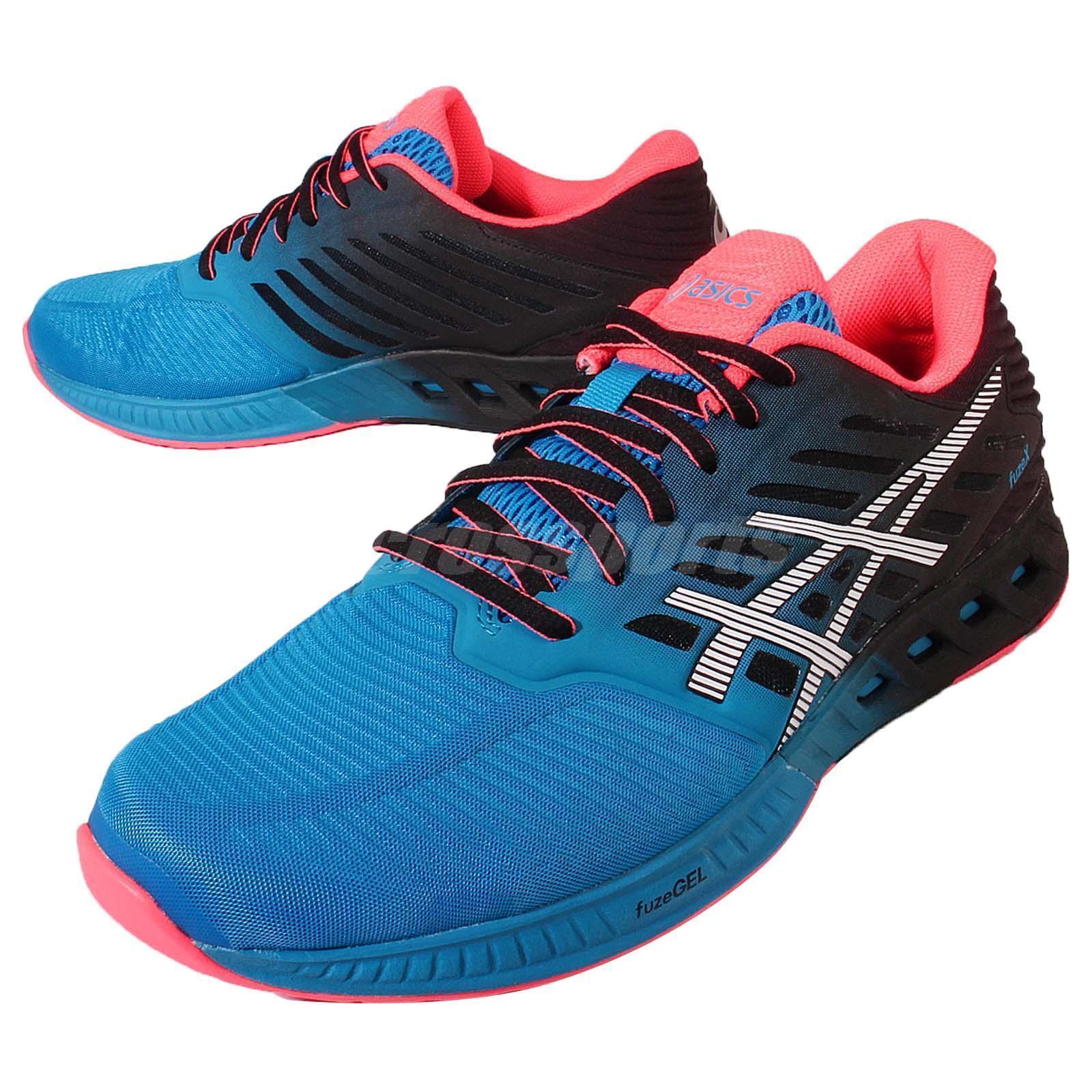 Asics FuzeX Bleu Noir Rouge Gel Mens Running Chaussures Trainers Gel Rouge T639N-4201 1b3a81