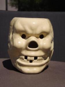 Internationale Antiq. & Kunst Mittel- & Südamerika Vintage Große Trader Vic's Skelettschädel Glasierter Gelb Becher Fehlend Zahn