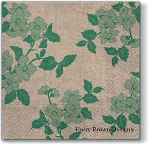 2 Paper Napkins  Serviettes Green Pattern High Quality 3 PLY for Decoupage  Parties  Weddings