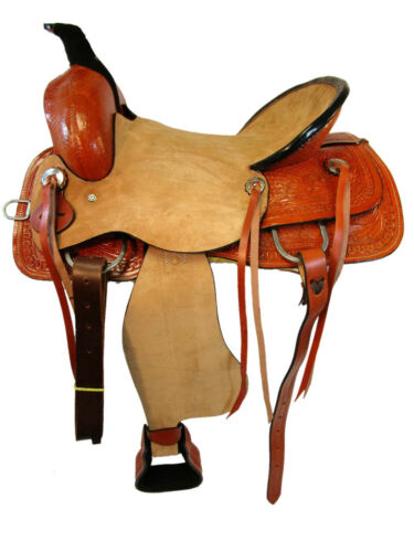 WESTERN ROPING RANCHER REINER ROUGH OUT LEATHER SADDLE TACK HORSE BASKET WEAVE