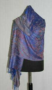Seidenschal-Stola-Pashmina-Schal-Blau-Wolle-Seide-Handgefertigt-Indien