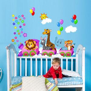 R00282 wall stickers sticker adesivi murali decorativi trenino magico 120x30cm ebay - Adesivi murali per camerette ...