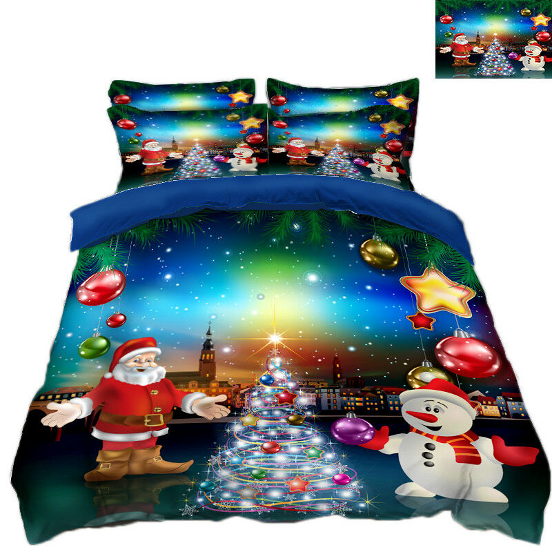 3D Christmas  Xmas Claus 8 Bed Pillowcases Quilt Duvet Cover Set Single Queen UK