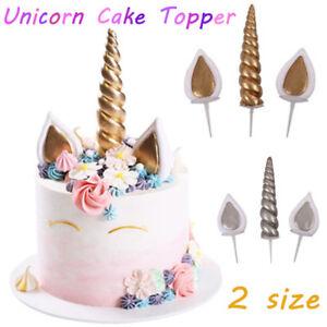 Image Is Loading Birthday Cake Topper Gold Unicorn Horn Amp Ear