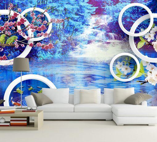 3D lago blue 37 Parete Murale Foto Carta da parati immagine sfondo muro stampa