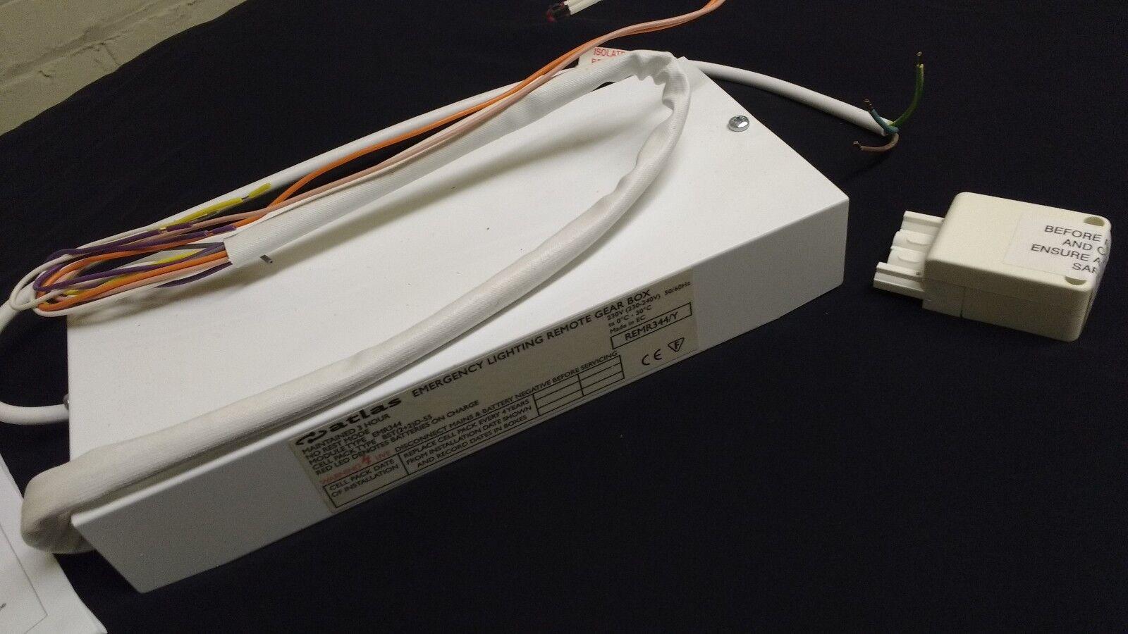 1 X Atlas REMR 344/Y de iluminación engranajes de emergencia remoto Caja de engranajes iluminación con cableado DS43 de 3 horas 37d789