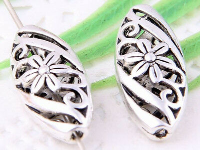 Wholesale 10/20Pcs Tibetan Silver(Lead-Free)Flower Flat oval Hollow Spacer Beads