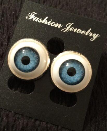 Evil Eye Studs Eyeball Earrings Steel Rockabilly Horror Steampunk Unusual Blue