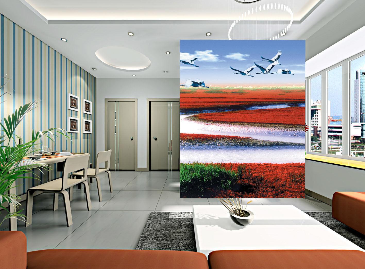 3D Reiher Rotes Felder 88 Tapete Wandgemälde Tapete Tapeten Bild Familie DE | Verschiedene Stile und Stile  | Jeder beschriebene Artikel ist verfügbar  | Gewinnen Sie das Lob der Kunden