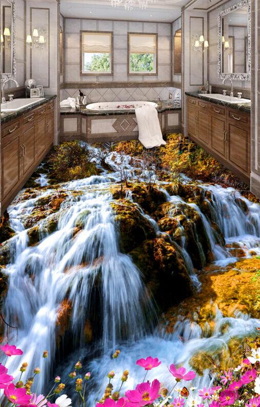 3D Papel de parojo rocosa Cascada 84 Piso Impresión De Parojo Murales Wallpaper AJ Reino Unido Limón