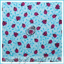 BonEful FABRIC FQ Cotton Quilt Blue Pink Black Dot Asian China Adoption Ladybug