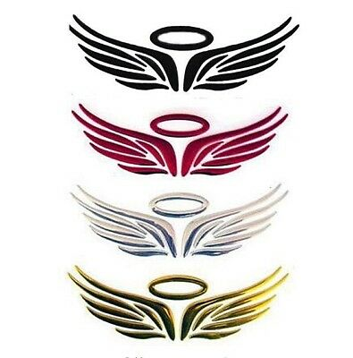 Silver 3D Car Logos Tail Sticker Guardian Angel Wings Reflective Graphics Decal