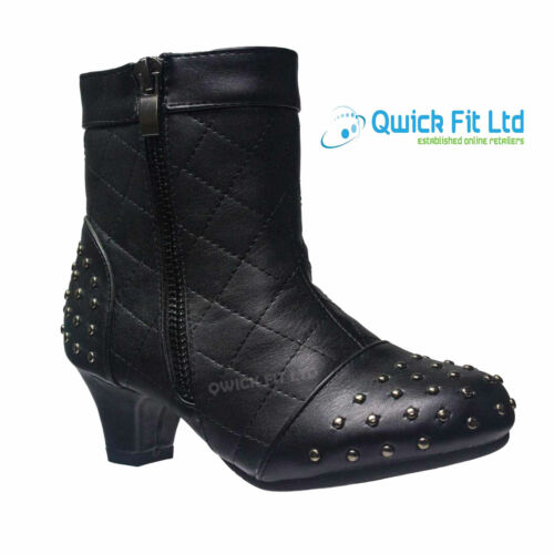 New Girls School Shoes Winter Zip Hi Kids Boots Ankle Quilted Fashion Heel Size
