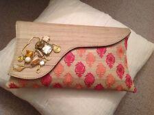 Clutch Bag - silk and rhinestone detailing