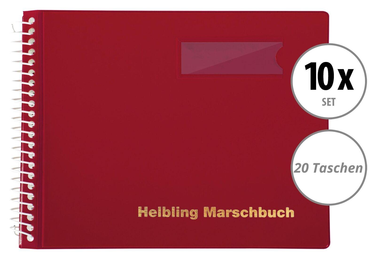 10 rote Marschbücher im Querformat von Helbling mit 20 Taschen für Blaskapellen