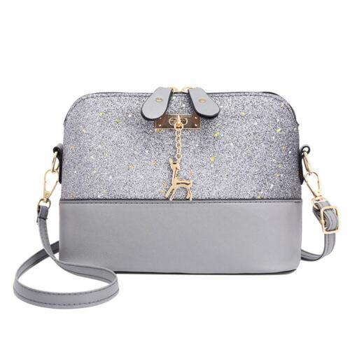 Shell Shoulder Handbag Women Sequin Lady PU Leather Casual Messenger Bag