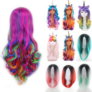 Women-Rainbow-Ombre-Hair-Wig-Long-Curly-Wavy-Straight-Wig-Cosplay-Dress-Full-Wig