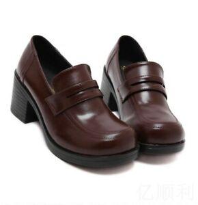 Block Heels Shoe Japanese School Girls Uniform Shoes Brogue Oxfords Pumps  DD | eBay