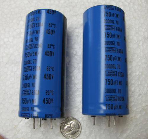 2 750uF 450V Nippon Chemi-Con 82DA series snap in Electrolytic Capacitors