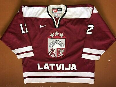 Hearty 2005 Wc Retro Iihf Latvia Latvija Gameworn Ice Hockey Jersey Nike Size 56 #12 Rich In Poetic And Pictorial Splendor Hockey-nhl