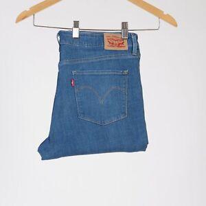 Levi-039-s-Mid-Rise-Skinny-Mittel-blau-stonewahed-Flowered-Damen-Jeans-33-32